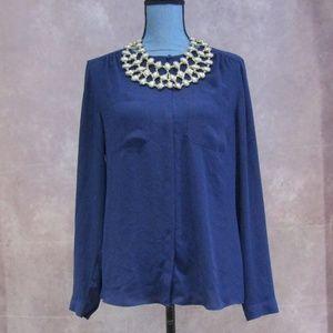 LOFT Blue Concealed Button Blouse Size M